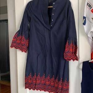Jcrew shirt dress with eyelet trim in red